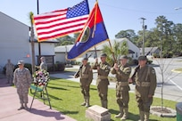 The 81st Regional Support Command held a memorial ceremony on May 7 at Fort Jackson, South Carolina to honor nine World War One Soldiers who were killed in a train wreck at then-Camp Jackson on May 10, 1918. Those Soldiers were in the 321st Infantry Regiment of the 81st Infantry Division and were part of an advance party on the way to Camp Sevier in Greeneville, South Carolina when the engine, the baggage car and two of the passenger cars likely slipped a switch and fell approximately 35 feet from the trestle as they were crossing it. Five died in the crash, two died while being pulled from the wreckage and two died at the hospital. Pictured here is the 81st RSC World War One Historical Color Guard.