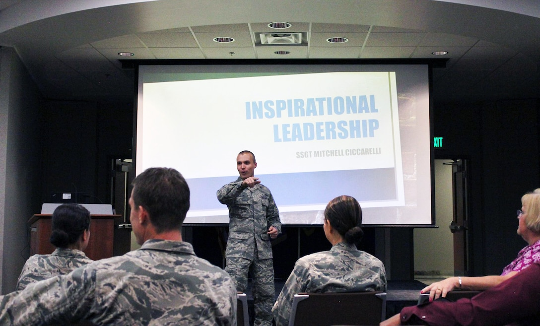 "Staff Sgt. Mitchell Ciccarelli, Air Reserve Personnel Center casualty services technician, addresses the audience July 16, 2015, during ARPC's July Leadership Seminar on Buckley Air Force Base, Colo. Ciccarelli discussed his topic ""Inspirational Leadership."" The purpose of these seminars is to share views on leadership in a university-type setting from all levels of leaders; not just senior leaders. Leadership seminars are held monthly and are open to all ARPC personnel. (U.S. Air Force photo/Tech. Sgt. Rob Hazelett)"