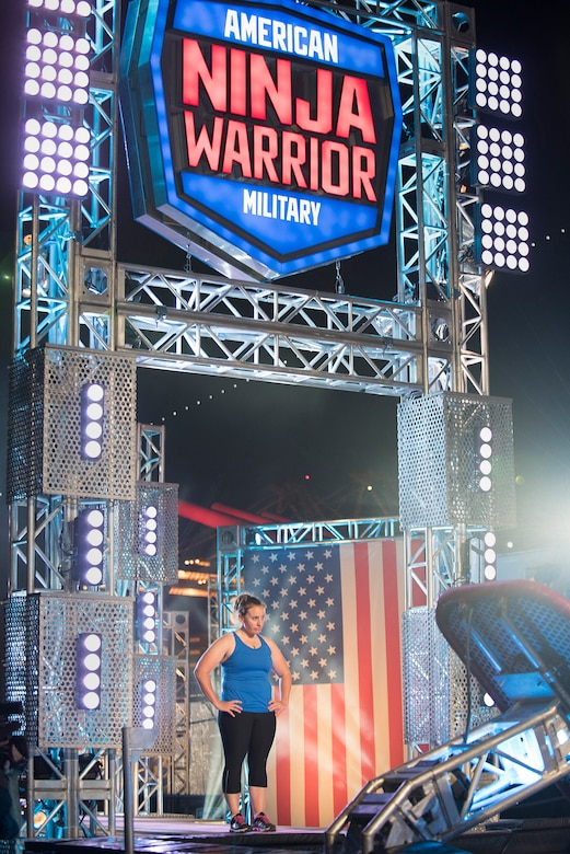 Air Force Capt. Kali Green assigned to the 24th Air Force, 5th Combat Communication Group, waits to begin the military edition, American Ninja Warrior challenge that aired July 6, 2015. Green said she will never forget the experience. (Courtesy photo/Released)