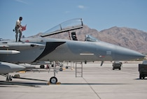 Senior Airman Quenton Richardson, 159th Maintenance Squadron crew chief, Louisiana Air National Guard, inspects an F-15 Eagle during Red Flag 15-3 at Nellis Air Force Base, Nev., July 14, 2015. Crew chiefs are responsible for overseeing the day-to-day maintenance of aircraft, including diagnosing malfunctions and replacing components, and conducting various inspections to ensure the aircraft is functioning properly. (U.S. Air Force photo by Staff Sgt. Siuta B. Ika)