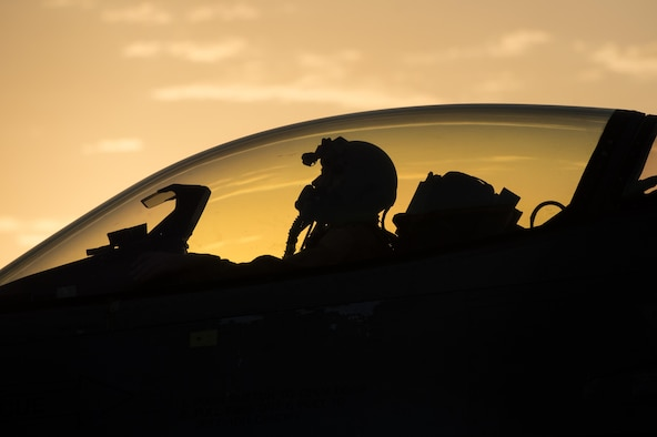 """A U.S. Air Force F-16 Fighting Falcon """"Triple Nickel"""" aircraft pilot assigned to the 555th Expeditionary Fighter Squadron from Aviano Air Base, Italy, waits as Airmen from the 455th Expeditionary Aircraft Maintenance Squadron complete a final check of the aircrafts weapons before taking off on a combat sortie from Bagram Air Field, Afghanistan, July 14, 2015. The F-16 is a multi-role fighter aircraft that is highly maneuverable and has proven itself in air-to-air and air-to-ground combat. Members of the Triple Nickel are deployed in support of Operation Freedom's Sentinel and NATO's Resolute Support mission. (U.S. Air Force photo by Tech. Sgt. Joseph Swafford/Released)"""