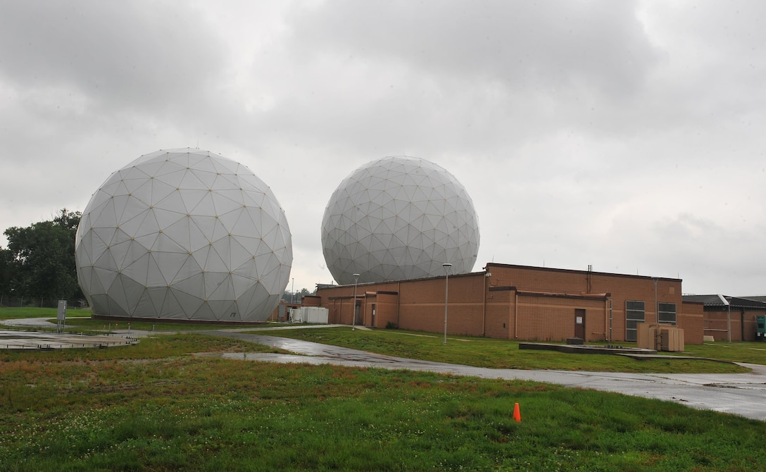 Underneath the spherical protective coverings are two Air Force Wideband Enterprise Terminals located at Offutt Air Force Base, Neb. The terminals are among approximately 90 joint systems used worldwide to communicate and transfer information across the Global Information Grid. The AFWET program office from Hanscom AFB, Mass., is in the process of installing new modernization kits onto the systems. (U.S. Air Force photo/Josh Plueger)