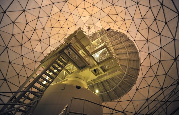 An Air Force Wideband Enterprise Terminal stands poised under a protective covering on Offutt Air Force Base, Neb. AFWET terminals communicate with a variety of satellites and keep military branches and other government agencies connected worldwide. The system is currently undergoing its third largest modernization led by a program management team from Hanscom AFB, Mass. (U.S. Air Force photo/Josh Plueger)