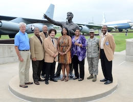 Members of the Charles B. Hall Chapter of the Tuskegee Airmen Inc., family members of Tuskegee Airmen and others gathered at the Maj. Charles B. Hall Airpark July 8 for photos with the major's statue. From left, Mark Tarpley, president of the Air Force Association Gerrity Chapter; Ed Woodward Jr., son of original Tuskegee Airman Capt. Edward Woodward Sr.; Tom Harmon; Karl Wilburn, son of original Tuskegee Airman Lt. Arthur Wilburn; Kelly Hall Jones and Sherri Hall Harris, daughters of Major Hall; Col. Stephanie Wilson, 72nd Air Base Wing commander; and Mahlon Smith, president of the Charles B. Hall Chapter of Tuskegee Airmen Inc. Afterward, the group attended a presentation about the history of African American aviation and the Tuskegee Airmen. (Air Force photo by Kelly White/Released)