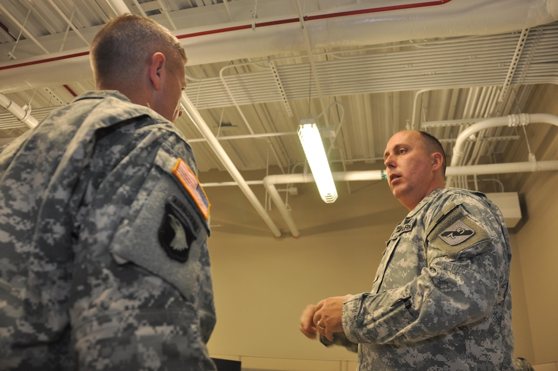 In this image released by the Army Reserve, soldiers and contractors with the 75th Training Command provide information technology support for a simulation training exercise in Houston, Texas, Saturday, Oct. 20, 2012. The exercise was part of an effort to demonstrate a system developed by the 75th to allow various military units to conduct certain types of scenario-based 'war game' training over computer networks. Using the system, reserve component military units are able to train in leadership and mission management tasks with a high degree of realism, and a low overall cost.  (Photo/75th Training Command, Army Reserve Maj. Adam Collett)