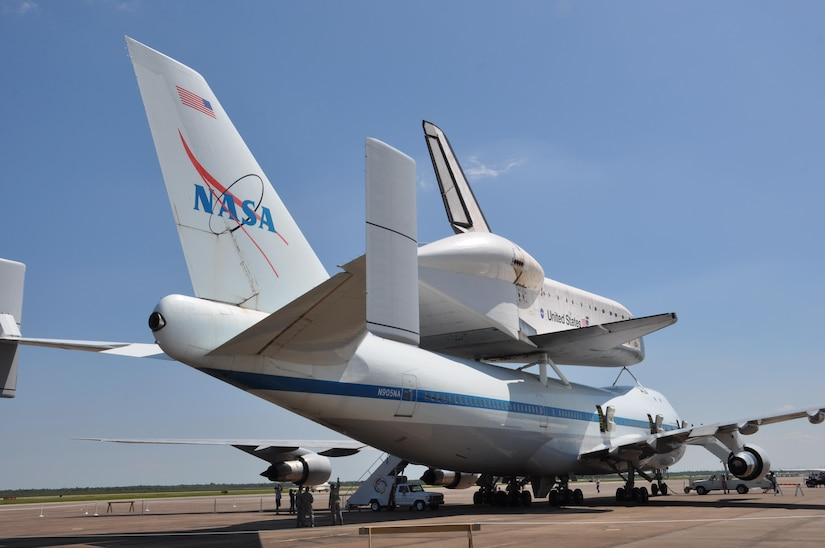 In this image released by the United States Army Reserve, the Space Shuttle Endeavour is shown in Houston, Texas, Wednesday, Sept. 19, 2012. The retired spacecraft made a brief stop at the city's Ellington International Airport before being flown to Los Angeles, where it will be permanently displayed at a museum complex there. The airport is adjacent to Ellington Field Joint Reserve Base, and troops from many of the units stationed there were on hand for the orbiter's arrival. (Photo/75th Training Command, Army Reserve Maj. Adam Collett)