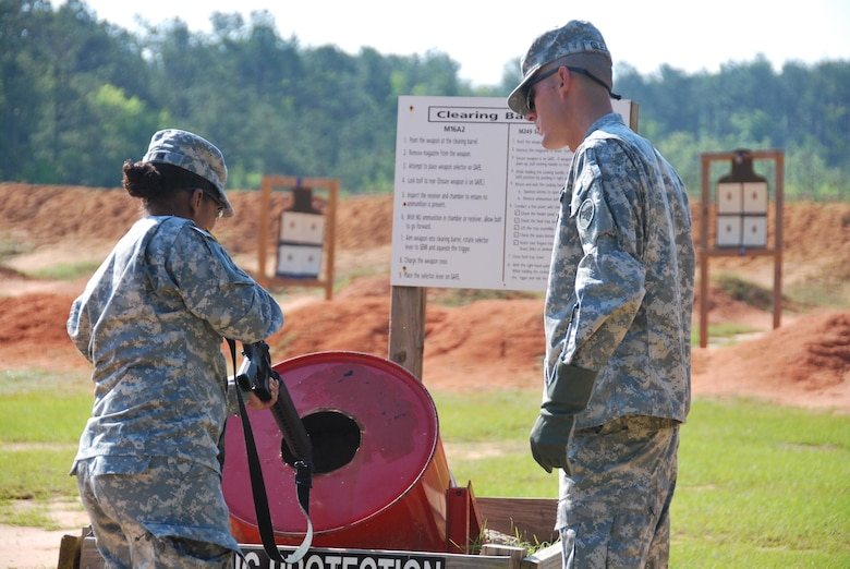 The 12th Legal Operations Detachment, Fort Jackson, South Carolina, enter the range only by way of the clearing barrel monitored by the 104th Training Division (LT).  (Photo by Master Sgt. Deborah Williams, 108th Training Command (IET), Public Affairs)