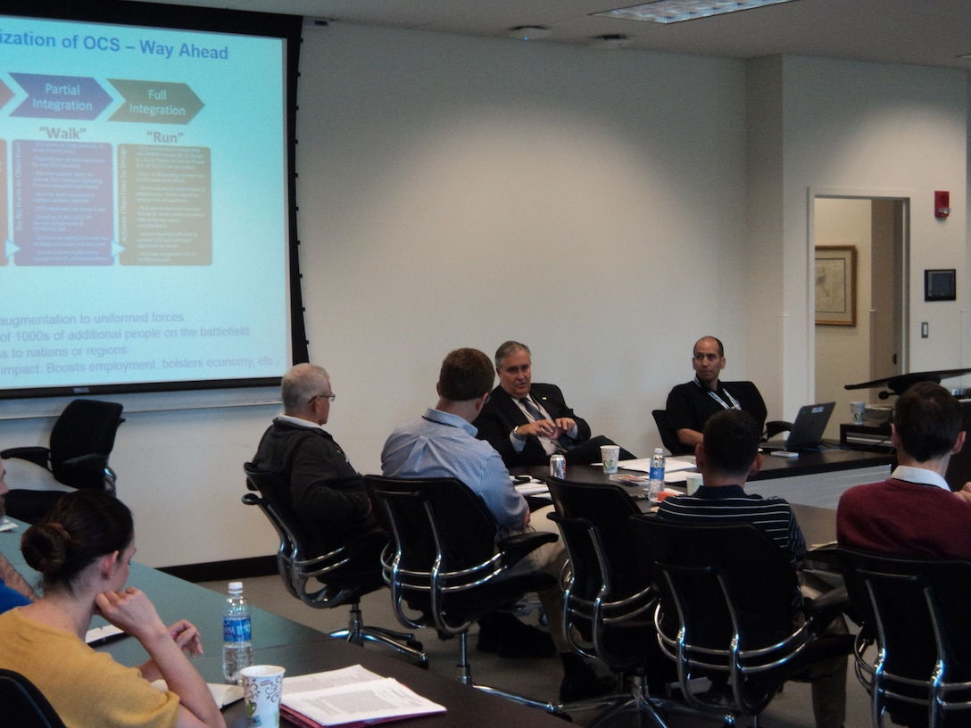 Mr. Gary Motsek, Deputy Assistant Secretary of Defense for Program Support, leads a discussion on Operational Contract Support during the 2015 Joint Logistics Faculty Development Workshop hosted recently by the Center for Joint & Strategic Logistics at Fort McNair, Washington DC.