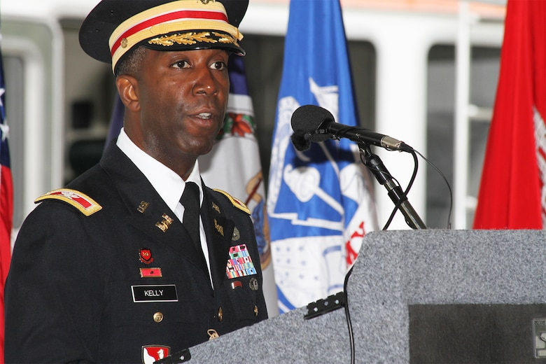 Col. Jason Kelly delivers remarks at a change of command ceremony July 16, 2015. 