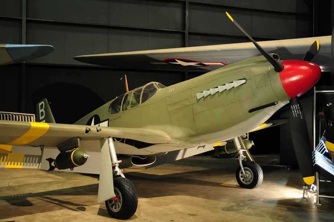 DAYTON, Ohio -- North American A-36A Mustang in the World War II Gallery at the National Museum of the United States Air Force. (U.S. Air Force photo)