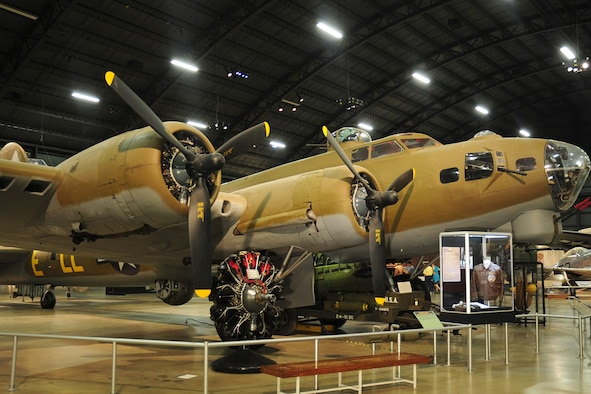 """DAYTON, Ohio -- Boeing B-17G Flying Fortress """"Shoo Shoo Shoo Baby""""  in the World War II Gallery at the National Museum of the United States Air Force. (U.S. Air Force photo)"""