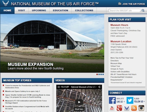 The National Museum of the U.S. Air Force website gives virtual visitors access to information and photos from the museum's exhibits, from the earliest days of military aviation through today's war on terror. Along with larger photos and videos, the new site is optimized for mobile devices.