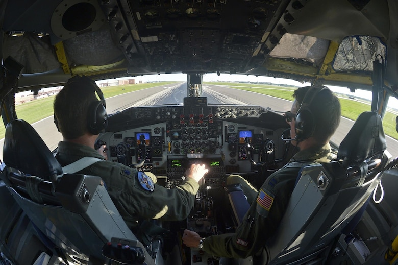 U.S. Air Force Lt. Col. Mark Hole, pilot, and Captain Thomas Bryceland, co-pilot, 185th Air Refueling Squadron, prepare for takeoff in the KC-135 Stratotanker for the last time during the last training mission of the 185 ARS on Tinker Air Force base, June 30, 2015 at Tinker Air Force base, Okla.  The 185th will be transitioning to Air Force Special Operations Command effective July 1, 2015. (U.S. Air Force photo by Tech Sgt. Caroline Essex/Released)
