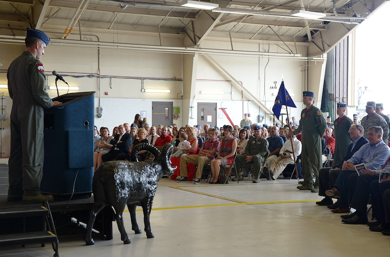 Lt. Col. George R. Watkins addresses the audience and squadron members during the 34th Fighter Squadron activation ceremony July 17, 2015, at Hill Air Force Base, Utah. The 34th FS will be the first combat squadron to fly the Air Force's newest fighter aircraft, the F-35A Lightning II. (U.S. Air Force photo/Alex R. Lloyd)