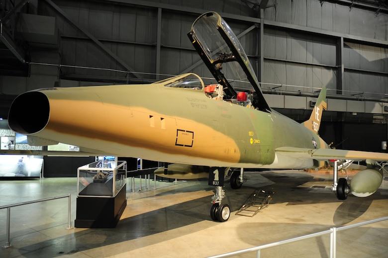 DAYTON, Ohio -- North American F-100F in the Southeast Asia War Gallery at the National Museum of the United States Air Force. (U.S. Air Force photo)