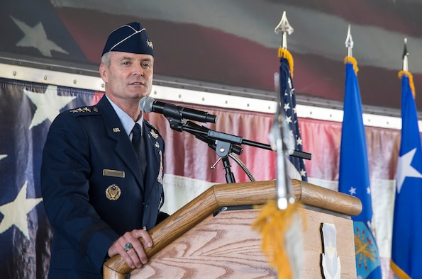 JOINT BASE SAN ANTONIO-RANDOLPH, Texas -- Lt. Gen Darryl Roberson, commander of Air Education and Training Command, speaks during the AETC change of command ceremony at Joint Base San Antonio-Randolph, Texas, July 21, 2015. Roberson is a command pilot who has more than 5,000 flight hours including 865 combat hours.  Roberson will oversee the operation of 10 major installations in five states. The mission of AETC is to recruit, train and educate Airmen to deliver Air Power for America. Roberson was previously the 3rd Air Force and 17th Expeditionary Air Force commander at Ramstein Air Base, Germany. (U.S. Air Force photo by Johnny Saldivar)