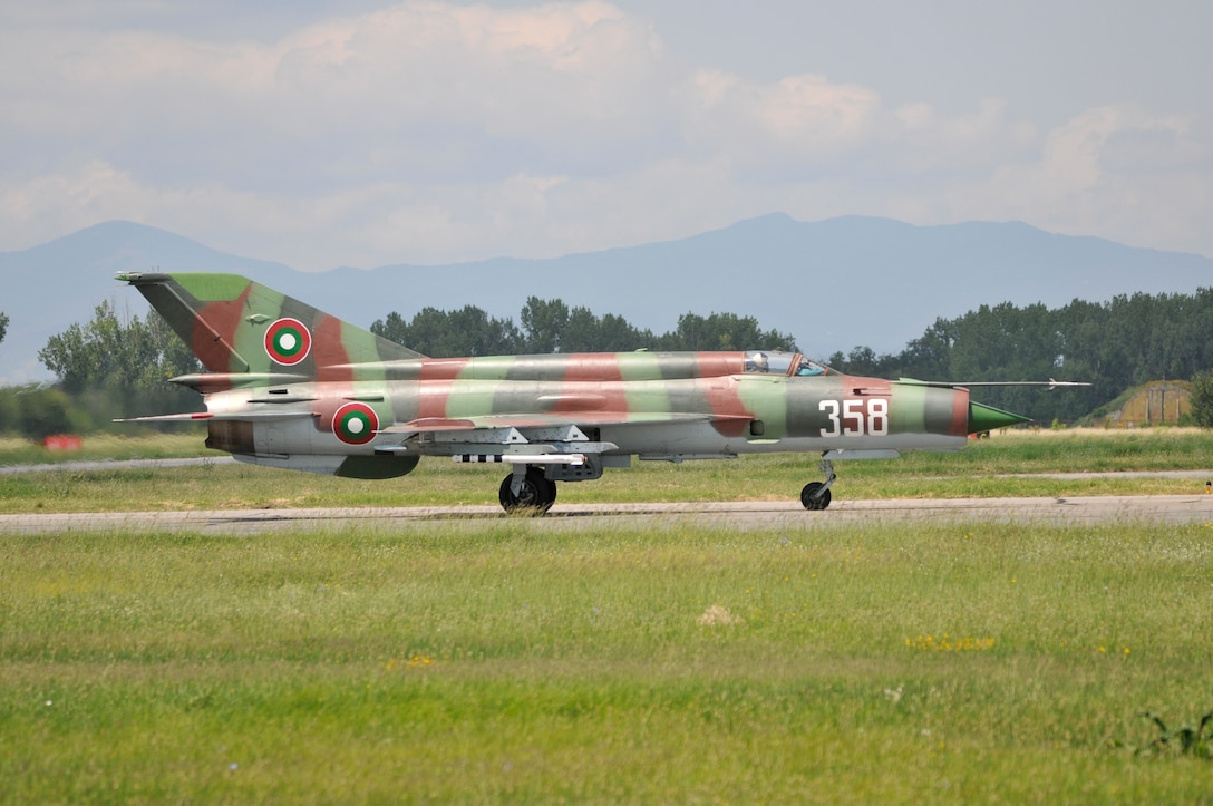 A Bulgarian air force MiG-21 Fishbed taxis at Graf Ignatievo Air Base, Bulgaria during Thracian Star on July 14, 2015. Airmen and F-16s from the 177th Fighter Wing of the New Jersey Air National Guard flew sorties with the Bulgarian air force at Thracian Star, a bilateral training exercise designed to enhance interoperability. (U.S. Air National Guard photo by Master Sgt. Andrew J. Moseley/Released)