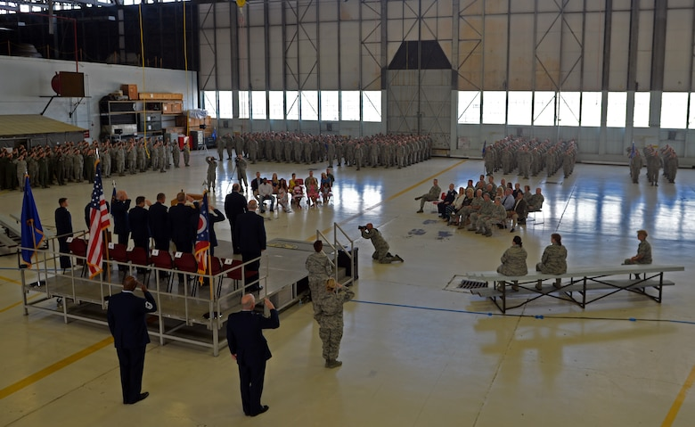 The 121st Air Refueling Wing held a change of command ceremony July 12, 2015, at Rickenbacker Air National Guard Base, Ohio. Command of the wing was transferred from U.S. Air Force Col. Jim Jones to Col. Mark Auer.(U.S. Air National Guard photo by Airman Ashley Williams/Released)