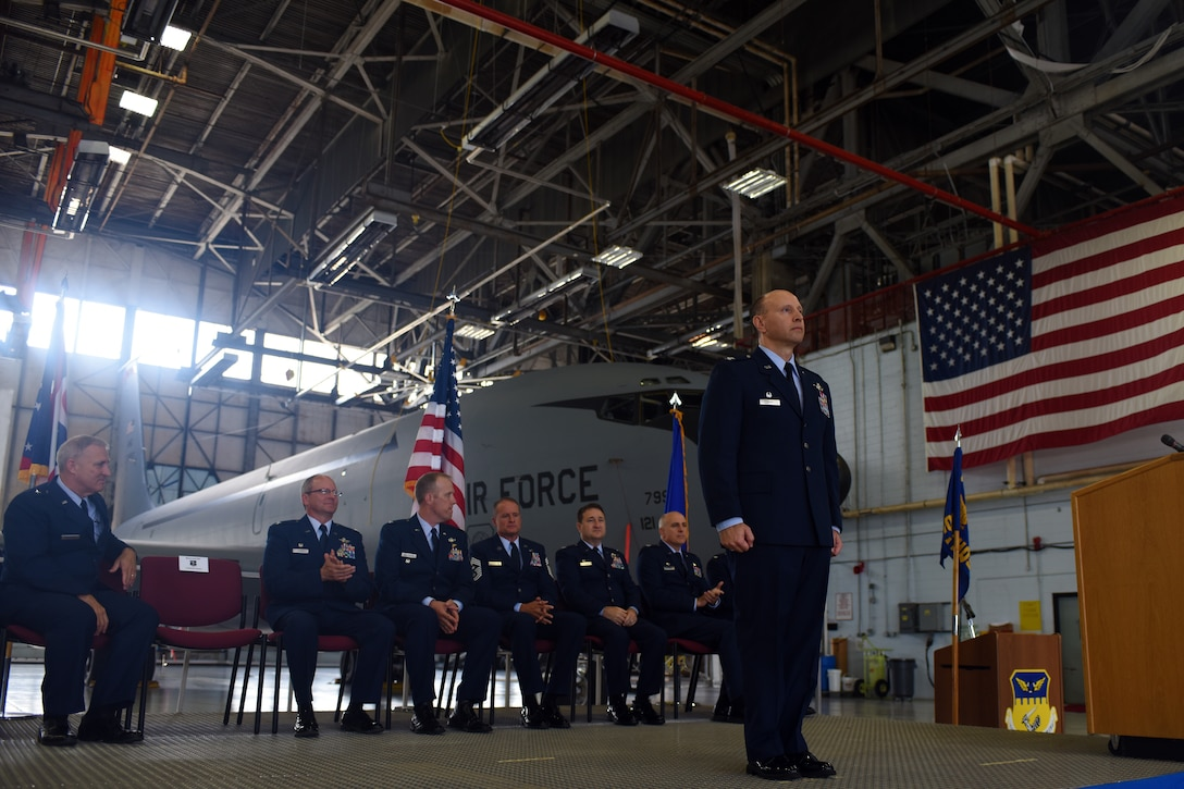 U.S. Air Force Col. Mark Auer stands front and center during the 121st Air Refueling Wing's change of command ceremony July 12, 2015, at Rickenbacker Air National Guard Base, Ohio. Command of the wing was transferred from U.S. Air Force Col. Jim Jones to Col. Mark Auer.(U.S. Air National Guard photo by Master Sgt. Ralph Branson/Released)