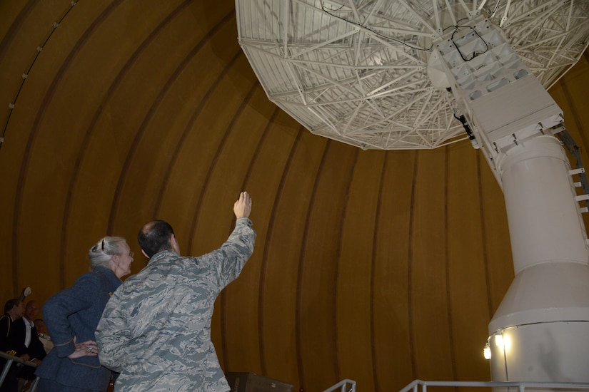 THULE AIR BASE, Greenland – Her Majesty The Queen of Denmark Margrethe II, tours an antennae station at Detachment 1, 23rd Space Operations Squadron, as Capt. Theodore Givler, Det. 1, 23rd SOPS commander, explains how the equipment works July 11, 2015. The queen visited Thule as part of her annual visit to Greenland. (U.S. Air Force photo by Tech. Sgt. Jared Marquis)