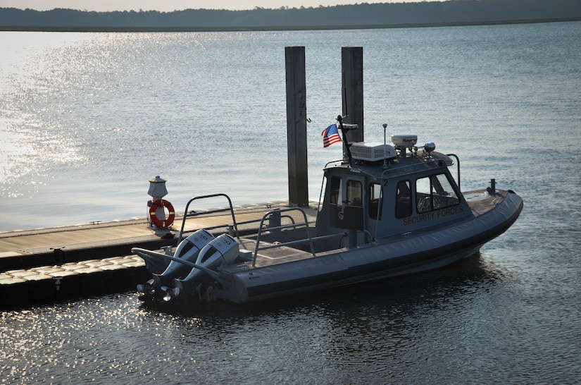 The 628th Logistics Readiness Squadron Port Operations received two new Harbor Security Boats this month to replace some of their older boats. The boats were received as part of a phased-replacement program governed by Chief of Naval Operations Instruction 4780.6.  This program allows for the regular overhaul and modernization or replacement of small boats without impacting the command's mission. The Joint Base Charleston – Weapons Station' shoreline spans approximately 15 miles of the Cooper River and Sailors, Airmen and Department of Defense contractors patrol the shoreline on these Harbor Security Boats. (U.S. Air Force photo/Staff Sgt. AJ Hyatt)