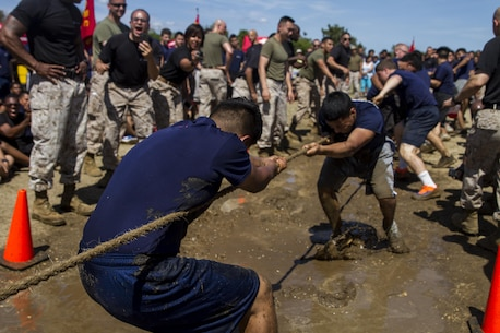 Enlistees of Marine Corps Recruiting Station New York compete in Tug-o-War during the Sergeant Major's Cup at Jones Beach, N.Y., Saturday, June 13, 2015. The cup is an annual event that pits the enlistees of 14 recruiting substation of New York City and Long Island against each other in physical competitions.