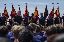 Sgt. Maj. Curtis Rice motivates the enlistees of Marine Corps Recruiting Station New York during the Sergeant Major's Cup at Jones Beach, N.Y., Saturday, June 13, 2015. The cup is an annual event that pits the enlistees of 14 recruiting substation of New York City and Long Island against each other in physical competitions. Rice is the sergeant major for RS New York.