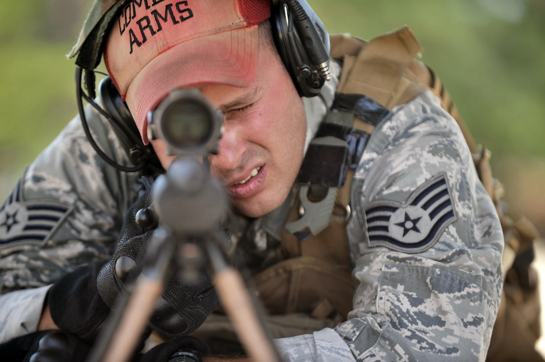 Staff Sgt. Joseph Pico trains at the firing range on Francis S. Gabreski Air National Guard Base, N.Y., July 17, 2015. Pico is a combat arms training and maintenance instructor with the 106th Rescue Wing. He's responsible for training the base populace on the use of small arms. (New York Air National Guard photo/Staff Sgt. Christopher S. Muncy)