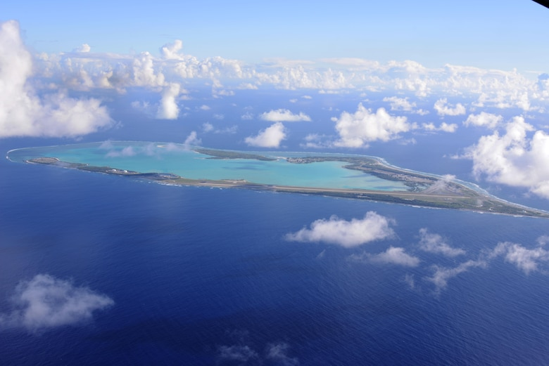 The view from an MC-130H Combat Talon II flying over Wake Island July 20, 2015.   Members from the 353rd Special Operations Group worked with the 36th Contingency Response Group from Andersen Air Base, Guam, to open Wake Island air field after Typhoon Halola passed through the island. (U.S. Air Force photo by Tech. Sgt. Kristine Dreyer)