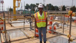 AMIE intern Brenae Martin on the job at a worksite on US Army Garrison Humphreys.