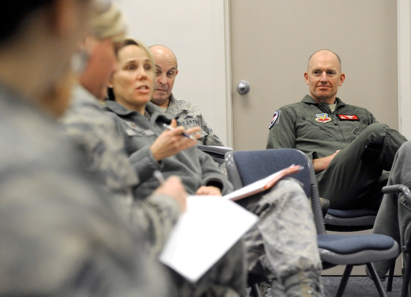 Oregon Air National Guard Col. Paul Fitzgerald, 142nd Fighter Wing Commander observes members interacting in a group discussion as part of the unit's Diversity and Inclusion Counsel meeting, Jan. 11, 2015, Portland Air National Guard Base, Ore. The Diversity and Inclusion Counsel helps foster communication by recognizing that a diverse set of experiences, perspectives, and backgrounds are crucial to mission success. (U.S. Air National Guard photo by Tech. Sgt. John Hughel, 142nd Fighter Wing Public Affairs/Released)
