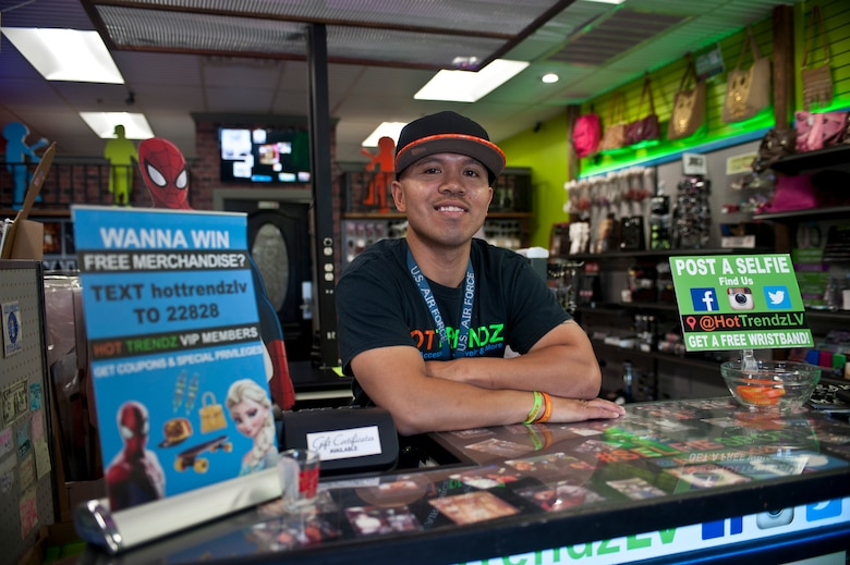 Retired Tech. Sgt. Alfredo Sibucao Jr. poses for a picture inside his retail store in Las Vegas, June 22, 2015. Sibucao retired from the Air Force under the temporary early retirement authority program in 2014 after serving on active duty for 16 years. (U.S. Air Force photo by Staff Sgt. Siuta B. Ika)