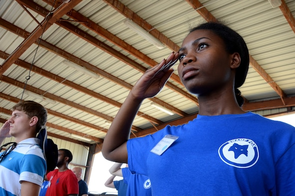 U.S. Air Force Airman Benita Mbonu-Obi, assigned to the 169th Student Flight, renders a salute at McEntire Joint National Guard Base, S.C., June 13, 2015.  The trainees were taught several facing and drill movements in order to prepare them for Basic Military Training. (U.S. National Guard photo by Amn Megan Floyd/Released)
