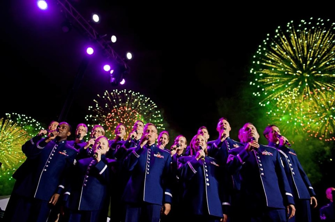 The Singing Sergeants participated in the Macy's Fireworks display in New York City on July 4th.  The event was televised nationwide by NBC. (U.S. Air Force Photo by Senior Master Sgt. Bob Kamholz/released)