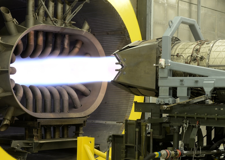 "The 1st Maintenance Squadron propulsion flight's testing facility, or ""hush house,"" is used to ensure the Pratt and Whitney F119 engine is working at its full capabilities before installing on a F-22 Raptor at Langley Air Force Base, Va., July 22, 2015. The F119 engine is the only operational fifth-generation fighter engine and the most advanced production engine. (U.S. Air Force photo by Airman 1st Class Derek Seifert/Released)"