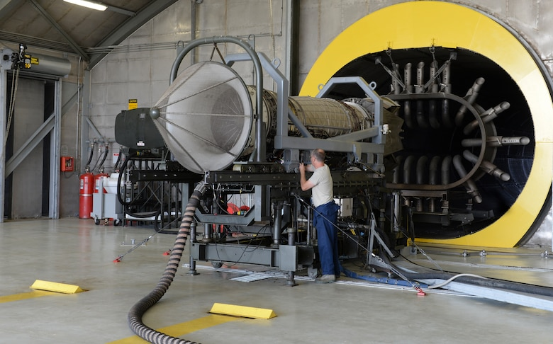 Virginia Air National Guard Master Sgt. Russell Tilley, 192nd Maintenance Squadron aerospace propulsion technician, performs pre-test inspections on a Pratt and Whitney F119 engine at Langley Air Force Base, Va., July 22, 2015. The engine of the F-22 Raptor produces more thrust than any other current fighter jet engine. (U.S Air Force photo by Airman 1st Class Derek Seifert/Released)