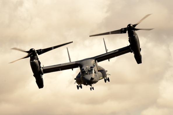 A CV-22B Osprey assigned to the 7th Special Operations Squadron performs an aerial display of its capabilities during the Royal International Air Tattoo at Royal Air Force Fairford, England, July 19, 2015. The U.S. participation in RIAT highlighted the strength of America's commitment to the security of NATO and its allies. (U.S. Air Force photo/Tech. Sgt. Chrissy Best)
