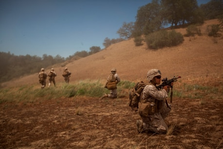 Infantry Marines with 3rd Platoon, Company C, 1st Battalion, 7th Marines, post security after landing at landing zone K Springs aboard Marine Corps Base Camp Pendleton, Calif., July 17, as part of a tactical recovery of aircraft and personnel mission during a certification exercise for Special Purpose Marine Air-Ground Task Force Crisis Response Central Command 16.1. The SPMAGTF is an expeditionary unit designed to provide simultaneous, self-contained crisis response mission sets in a variety of diverse and austere operating environments.