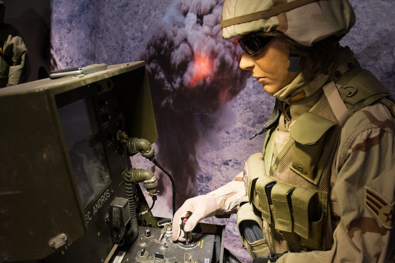 DAYTON, Ohio - The Warrior Airmen exhibit, highlighting Explosive Ordnance Disposal, on display in the Cold War Gallery at the National Museum of the U.S. Air Force. (U.S. Air Force photo)