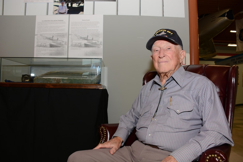 Retired Lt. Col. Bruce Sooy sits inside the heritage center July 15, 2015, at the Travis Air Force Base, Calif. Sooy flew 23 missions during World War II before being shot down and captured as a prisoner of war. (U.S. Air Force photo/Airman 1st Class Amber Carter)