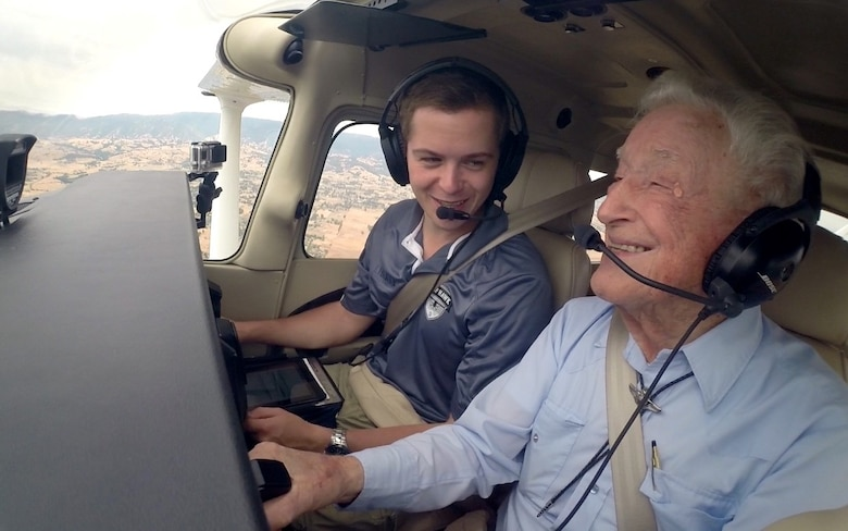 Retired Lt. Col. Bruce Sooy receives a demonstration flight at Nut Tree Airport, Calif., July 2015. It had been 56 years since he had last flown an aircraft. (Courtesy photo)