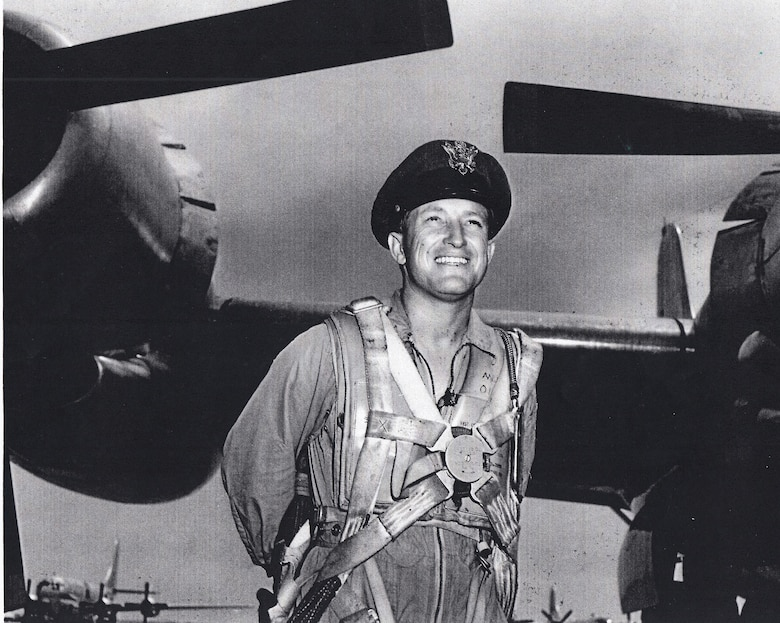Retired Lt. Col. Bruce Sooy stands in front of a B-50D at Eglin Air Force Base, Fla., in 1951. He was performing air-to-air refuel testing with KC-97s. (Courtesy photo)