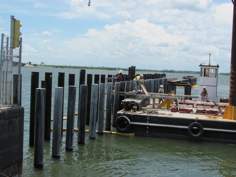Traditional wood pilings at Canaveral Lock have been replaced by new environmentally friendly and long-lasting pilings.