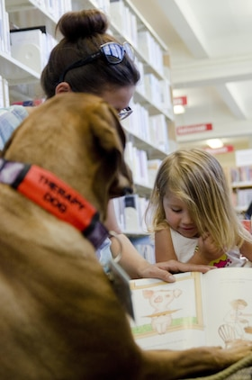 Therapy dog Trouble, a 4-year-old Rhodesian ridgeback, listens to a story during the Reading to Dogs event at the base library, July 22, 2015. Trouble is certified with the Reading Education Assistance Dogs program from Intermountain Therapy Animals, a nonprofit organization based in Salt Lake City. Trouble is also one of the therapy dogs from Tails of Aloha, a local nonprofit organization providing therapy dog visits islandwide. The mission of Marine Corps Base Hawaii is to provide facilities, programs and services in direct support of units, individuals and families in order to enhance and sustain combat readiness for all operating forces and tenant organizations aboard the installation. (U.S. Marine Corps photo by Kristen Wong/Released)