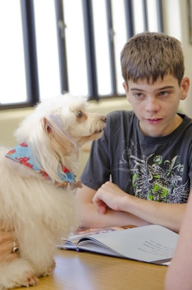 """Alec Webb reads """"Therapy Dogs"""" by Kimberly Hutmacher to Le'a, a Maltese/poodle mix during the Reading to Dogs event at the base library, July 22, 2015. Le'a is certified with the Reading Education Assistance Dogs program from Intermountain Therapy Animals, a nonprofit organization based in Salt Lake City. Le'a is also one of the therapy dogs from Tails of Aloha, a local nonprofit organization providing therapy dog visits island wide. (U.S. Marine Corps photo by Kristen Wong/Released)"""