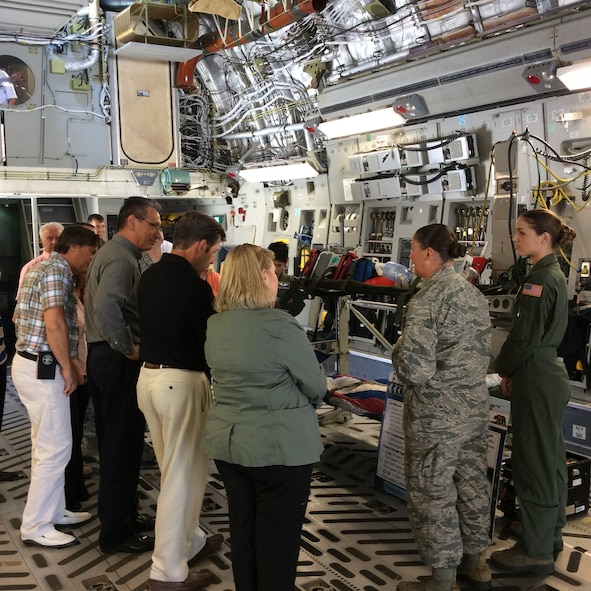 Civic leaders from Spokane, Wash. and surrounding areas learn the capabilities of the C-17 Globemaster III July 21, 2015 at Travis Air Force Base. The purpose of the tour was to increase civic leaders' understanding of Air Mobility Command and the Air Force's role in national security. (U.S. Air Force photo/2nd Lt. Shelley Gregory)