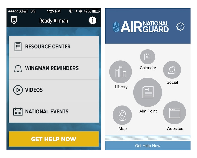 Two new mobile apps from the Air National Guard offer Airmen and their families easy access to a variety of tools and information on leadership and resilience. The Ready Airman app (left) and the Air National Guard CCM Mobile app (right) were produced by the Air National Guard Community Action Information Board and the ANG Safety Directorate. (U.S. Air National Guard photo)