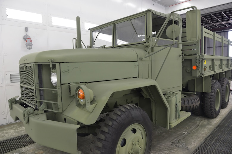 The M-35 started as a 1949 REO Motor Car Company design for a 2½ ton all-wheel-drive truck. The original 6-wheel M-34 version was quickly superseded by the 10-wheel M-35 design. While the basic M35 cargo truck is rated to carry 5,000 pounds (2,300 kg) off-road or 10,000 pounds (4,500 kg) on roads, they have been known to haul amounts twice as much.   (U.S. Air Force photo by Ray Crayton)