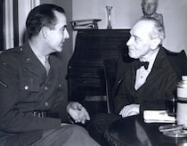 Army Air Forces Cpl. Samuel Barber meets with Boston Symphony conductor
