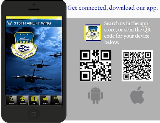 The 315th Airlift Wing released a new mobile device app this week which brings the wing's latest news and information to Reservists' fingertips. Besides news, the app features a push message technology that will allow the wing to send out urgent messages including weather alerts and government shut downs. (U.S. Air Force Graphic)